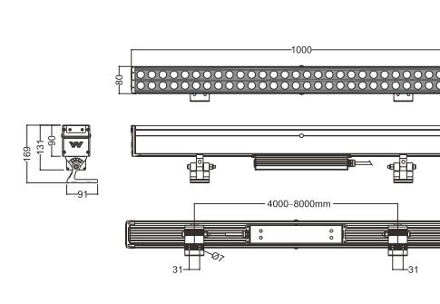 Lineart Lighting LED Linear Wall Wash Accent Beam LL-80169 50-100W